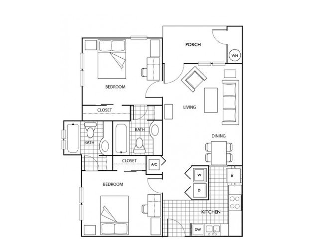 2 Bedrooms 2 Bathrooms Apartment for rent at The Pavilion in Gainsville, FL