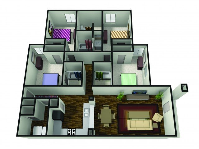 4 Bedrooms 4+ Bathrooms Apartment for rent at The Haven in Muncie, IN