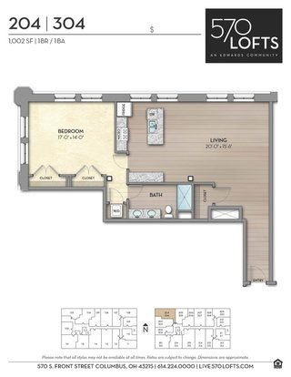 1 Bedroom 1 Bathroom Apartment for rent at 570 Lofts in Columbus, OH