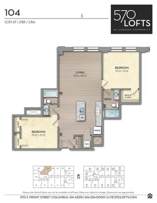 2 Bedrooms 2 Bathrooms Apartment for rent at 570 Lofts in Columbus, OH