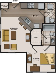 1 Bedroom 1 Bathroom Apartment for rent at Quarry Trail in Knoxville, TN
