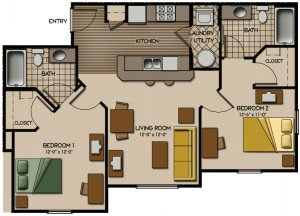 2 Bedrooms 2 Bathrooms Apartment for rent at Quarry Trail in Knoxville, TN