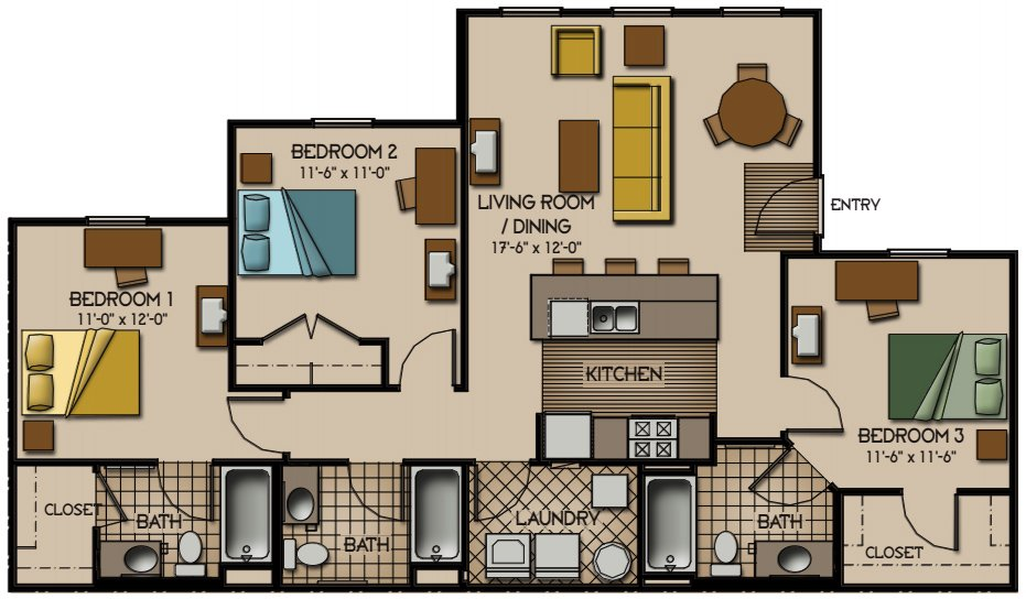 3 Bedrooms 3 Bathrooms Apartment for rent at Quarry Trail in Knoxville, TN