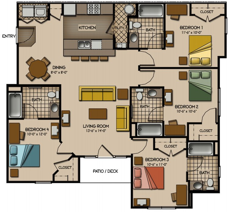 4 Bedrooms 3 Bathrooms Apartment for rent at Quarry Trail in Knoxville, TN