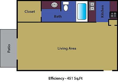 Studio 1 Bathroom Apartment for rent at Collins Park Apartments in Arlington, TX