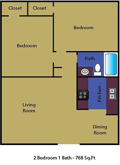 2 Bedrooms 1 Bathroom Apartment for rent at Collins Park Apartments in Arlington, TX