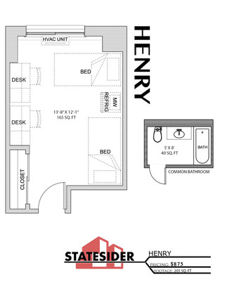 2 Bedrooms 1 Bathroom Apartment for rent at The Statesider in Madison, WI