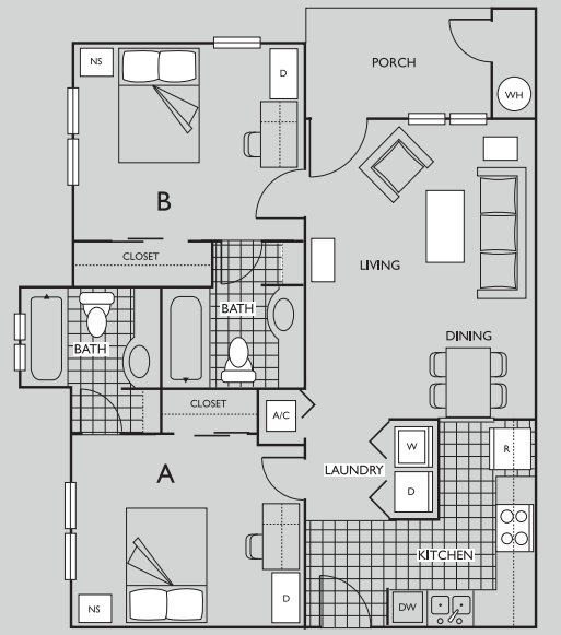 2 Bedrooms 2 Bathrooms Apartment for rent at The Pavilion on 62nd in Gainesville, FL
