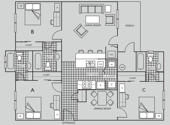 3 Bedrooms 3 Bathrooms Apartment for rent at The Pavilion on 62nd in Gainesville, FL