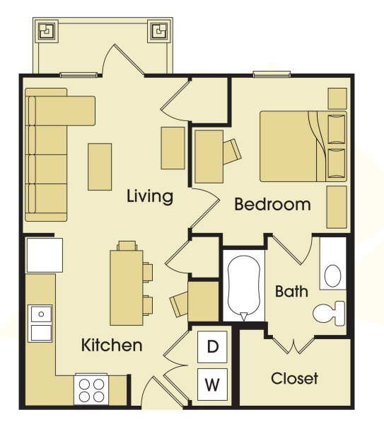 1 Bedroom 1 Bathroom Apartment for rent at Avalon Place in San Antonio, TX