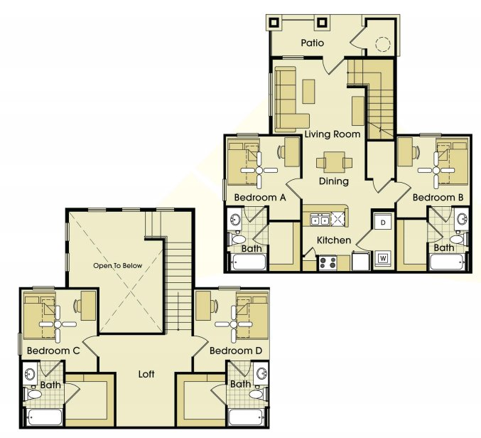 4 Bedrooms 4+ Bathrooms Apartment for rent at Parkway Place in College Station, TX