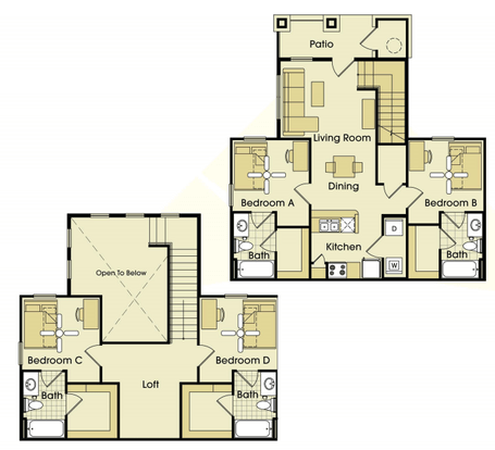 4 Bedrooms 3 Bathrooms Apartment for rent at Parkway Place in College Station, TX