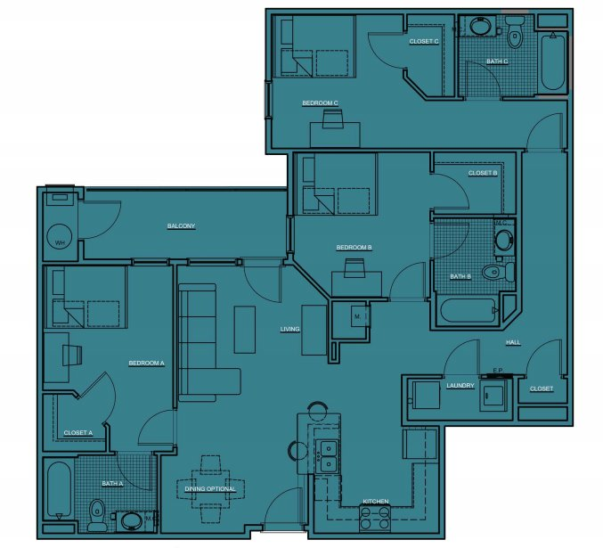 3 Bedrooms 3 Bathrooms Apartment for rent at The Pavilion at North Grounds in Charlottesville, VA