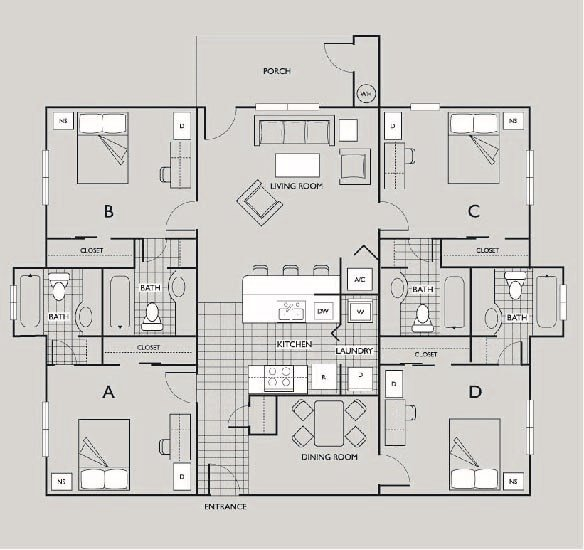 4 Bedrooms 3 Bathrooms Apartment for rent at The Pavilion on 62nd in Gainesville, FL