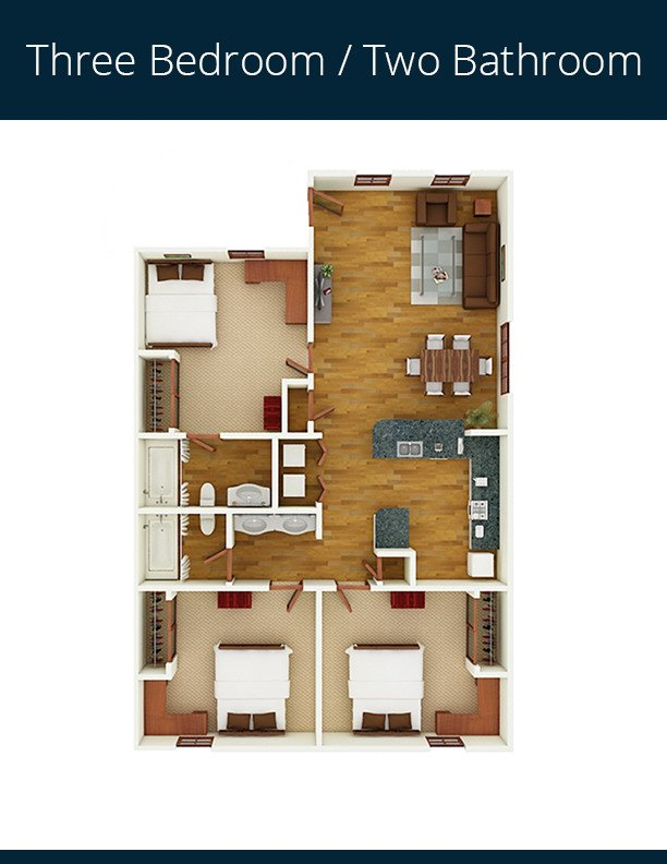 3 Bedrooms 2 Bathrooms Apartment for rent at Gateway At Tempe in Tempe, AZ