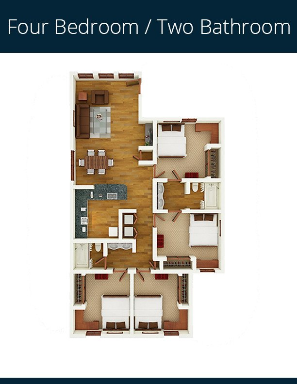 4 Bedrooms 2 Bathrooms Apartment for rent at Gateway At Tempe in Tempe, AZ