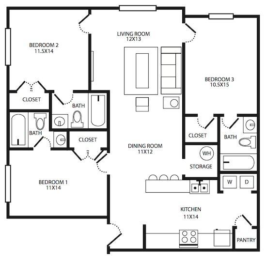3 Bedroom Houses For Rent Nc: Student Quarters At Greensboro Apartments Greensboro, NC