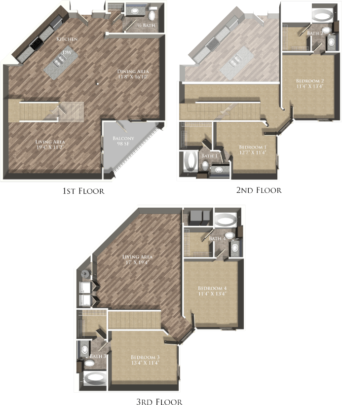 4 Bedrooms 3 Bathrooms Apartment for rent at The Exchange At Baton Rouge in Baton Rouge, LA