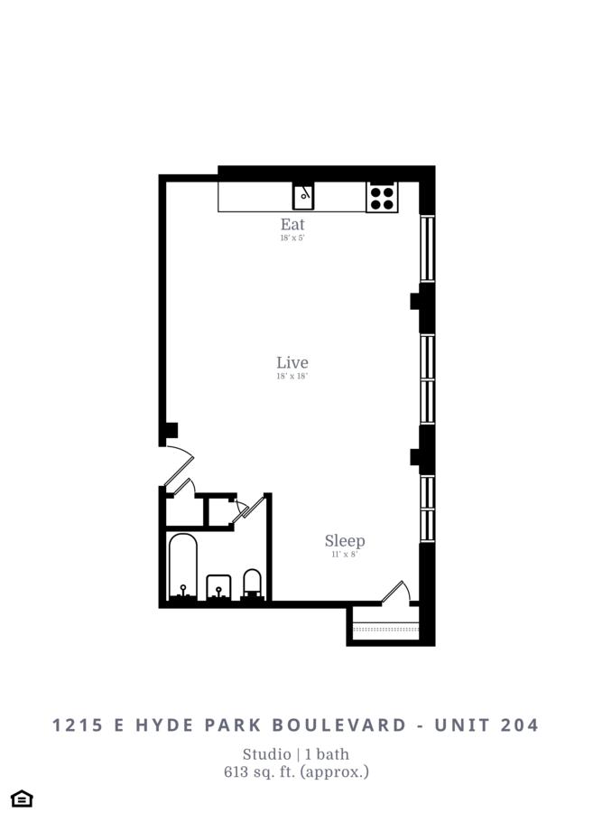 Studio 1 Bathroom Apartment for rent at 1215 E. Hyde Park Blvd in Chicago, IL