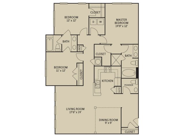 3 Bedrooms 2 Bathrooms Apartment for rent at Notting Hill in Dunwoody, GA