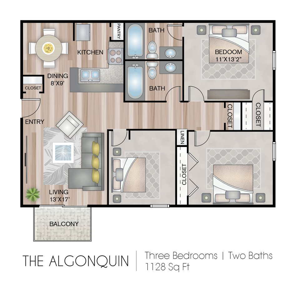 3 Bedrooms 2 Bathrooms Apartment for rent at Residences At Arlington Heights in Arlington Heights, IL