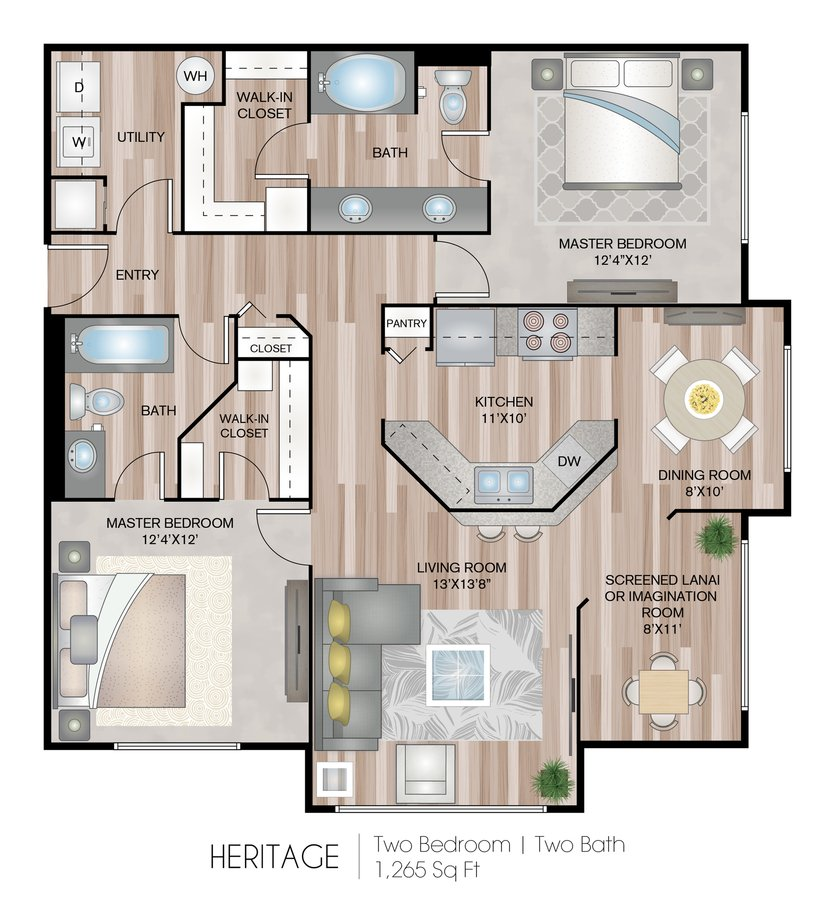 2 Bedrooms 2 Bathrooms Apartment for rent at Grandeville At River Place in Oviedo, FL