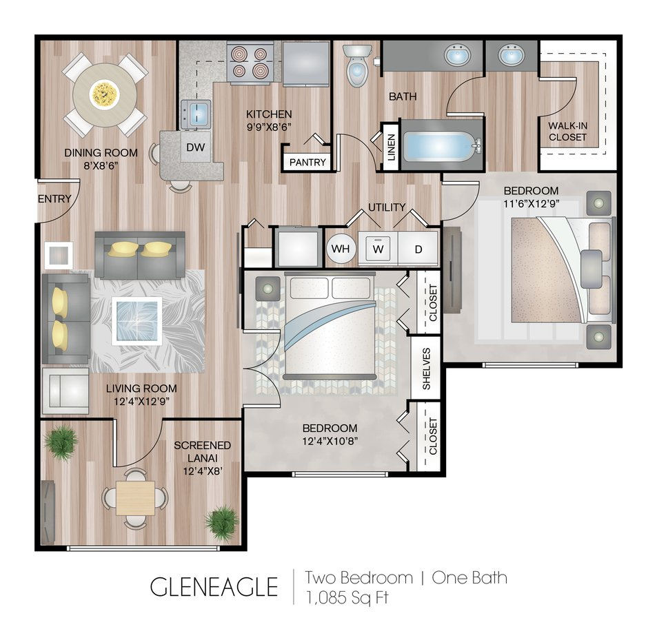 2 Bedrooms 1 Bathroom Apartment for rent at Grandeville At River Place in Oviedo, FL