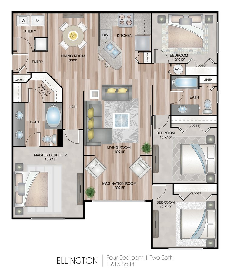 4 Bedrooms 2 Bathrooms Apartment for rent at Grandeville At River Place in Oviedo, FL