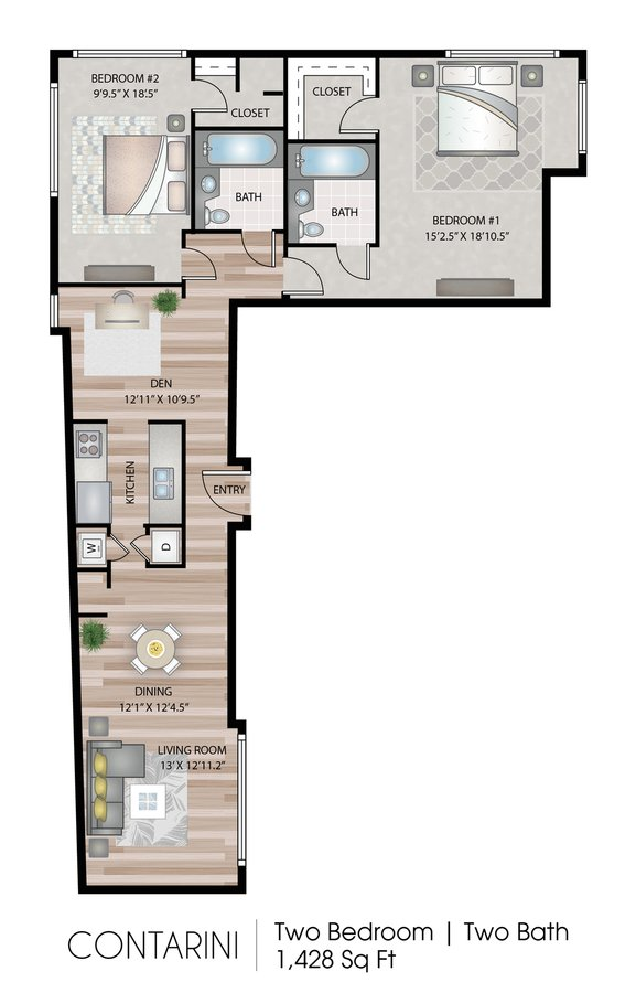 2 Bedrooms 2 Bathrooms Apartment for rent at Apex Manayunk in Philadelphia, PA