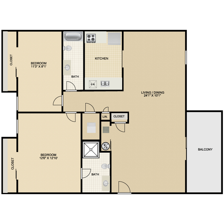 2 Bedrooms 2 Bathrooms Apartment for rent at The Meadows in Lexington, KY