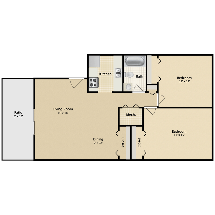 2 Bedrooms 1 Bathroom Apartment for rent at Pinebrook in Lexington, KY