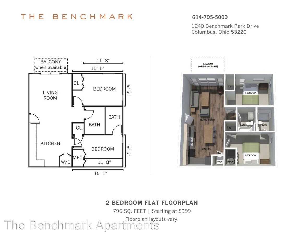 2 Bedrooms 2 Bathrooms Apartment for rent at 1240 Benchmark Park Drive in Columbus, OH