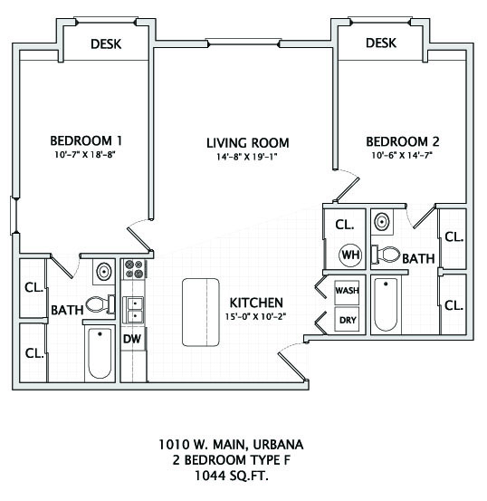 2 Bedrooms 2 Bathrooms Apartment for rent at 1010 W Main in Urbana, IL