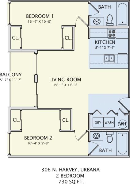 2 Bedrooms 2 Bathrooms Apartment for rent at 306 N. Harvey in Urbana, IL