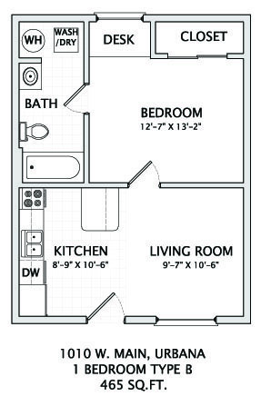 1 Bedroom 1 Bathroom Apartment for rent at 1010 W Main in Urbana, IL