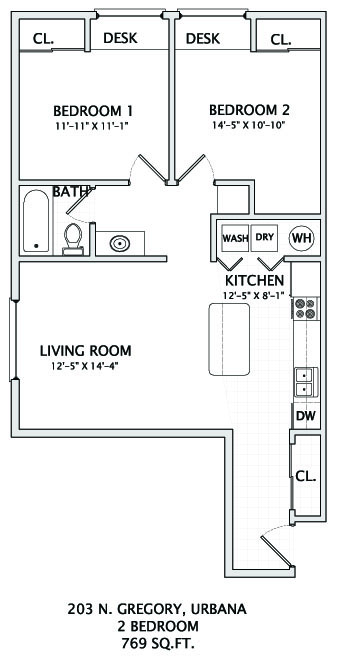 2 Bedrooms 1 Bathroom Apartment for rent at 203 N. Gregory in Urbana, IL