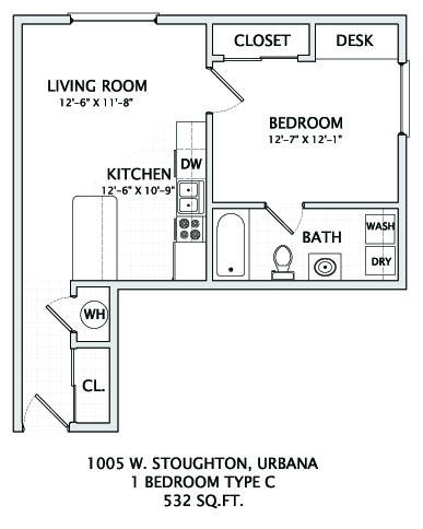 1 Bedroom 1 Bathroom Apartment for rent at 1005 W. Stoughton in Urbana, IL