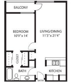 1 Bedroom 1 Bathroom Apartment for rent at Regency Premier in Panorama City, CA