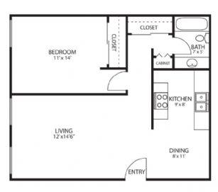 1 Bedroom 1 Bathroom Apartment for rent at Villa Park in Van Nuys, CA