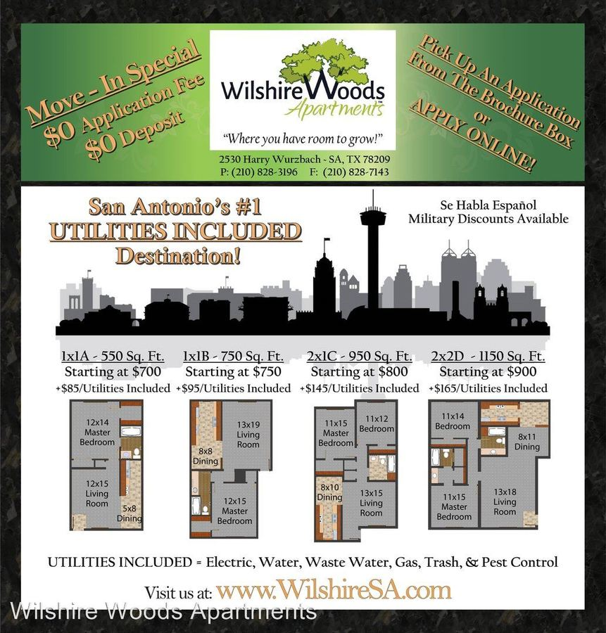 3 Bedrooms 2 Bathrooms Apartment for rent at 2530 Harry Wurzbach in San Antonio, TX
