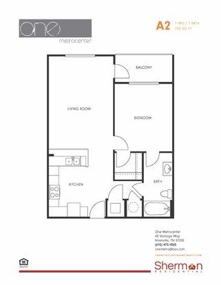 1 Bedroom 1 Bathroom Apartment for rent at One Metrocenter in Nashville, TN