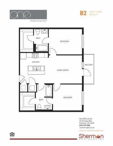 2 Bedrooms 2 Bathrooms Apartment for rent at One Metrocenter in Nashville, TN