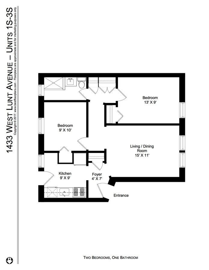 2 Bedrooms 1 Bathroom Apartment for rent at 1433 45 W. Lunt Ave in Chicago, IL