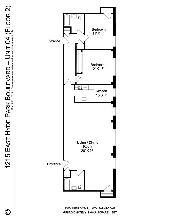 2 Bedrooms 2 Bathrooms Apartment for rent at 1215 E. Hyde Park Blvd in Chicago, IL