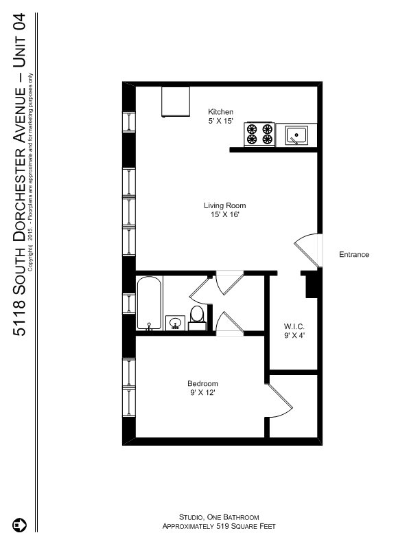 1 Bedroom 1 Bathroom Apartment for rent at 5118 S. Dorchester Ave. in Chicago, IL