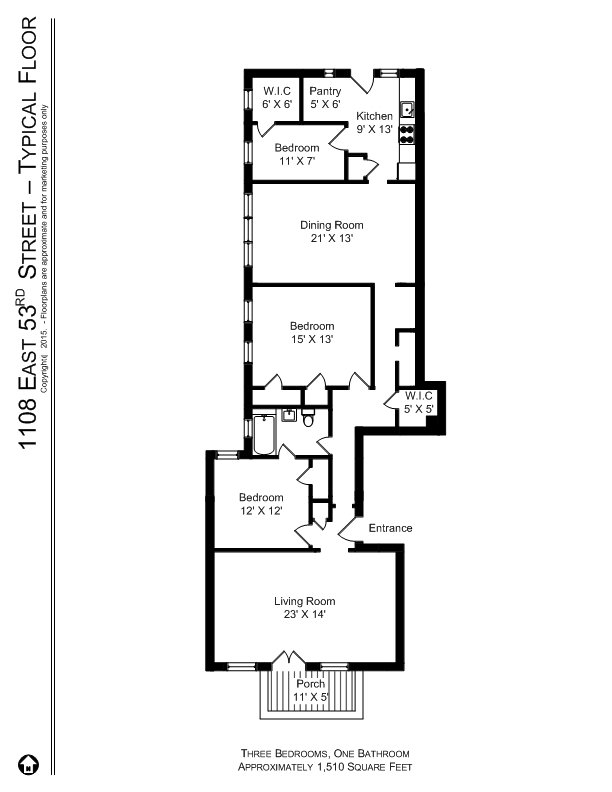 3 Bedrooms 1 Bathroom Apartment for rent at 5233 37 S. Greenwood (1100 1110 E. 53rd St) in Chicago, IL