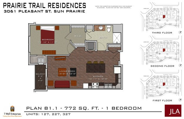1 Bedroom 1 Bathroom Apartment for rent at Prairie Trail Residences in Sun Prairie, WI