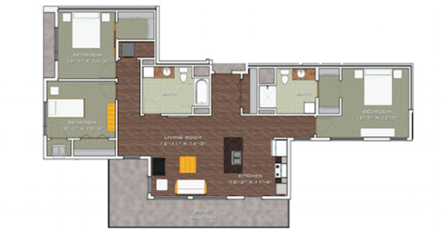 3 Bedrooms 2 Bathrooms Apartment for rent at Veritas Village in Madison, WI