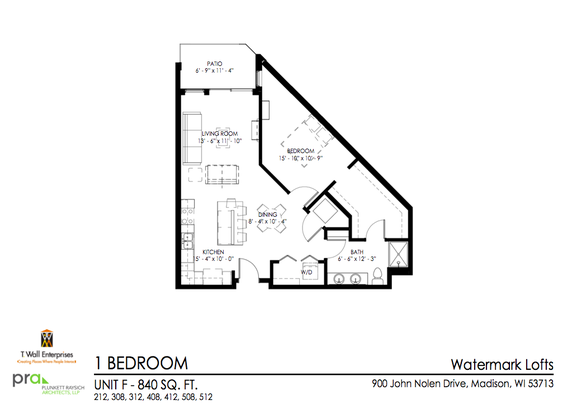 1 Bedroom 1 Bathroom Apartment for rent at Watermark Lofts in Madison, WI