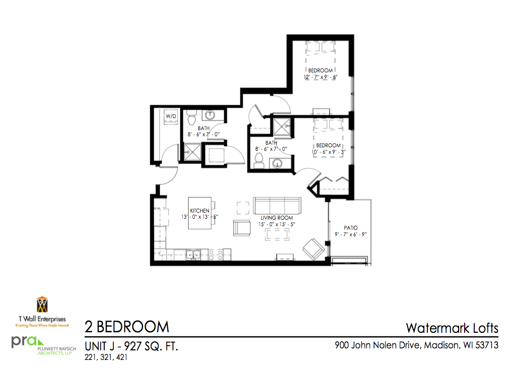 2 Bedrooms 2 Bathrooms Apartment for rent at Watermark Lofts in Madison, WI